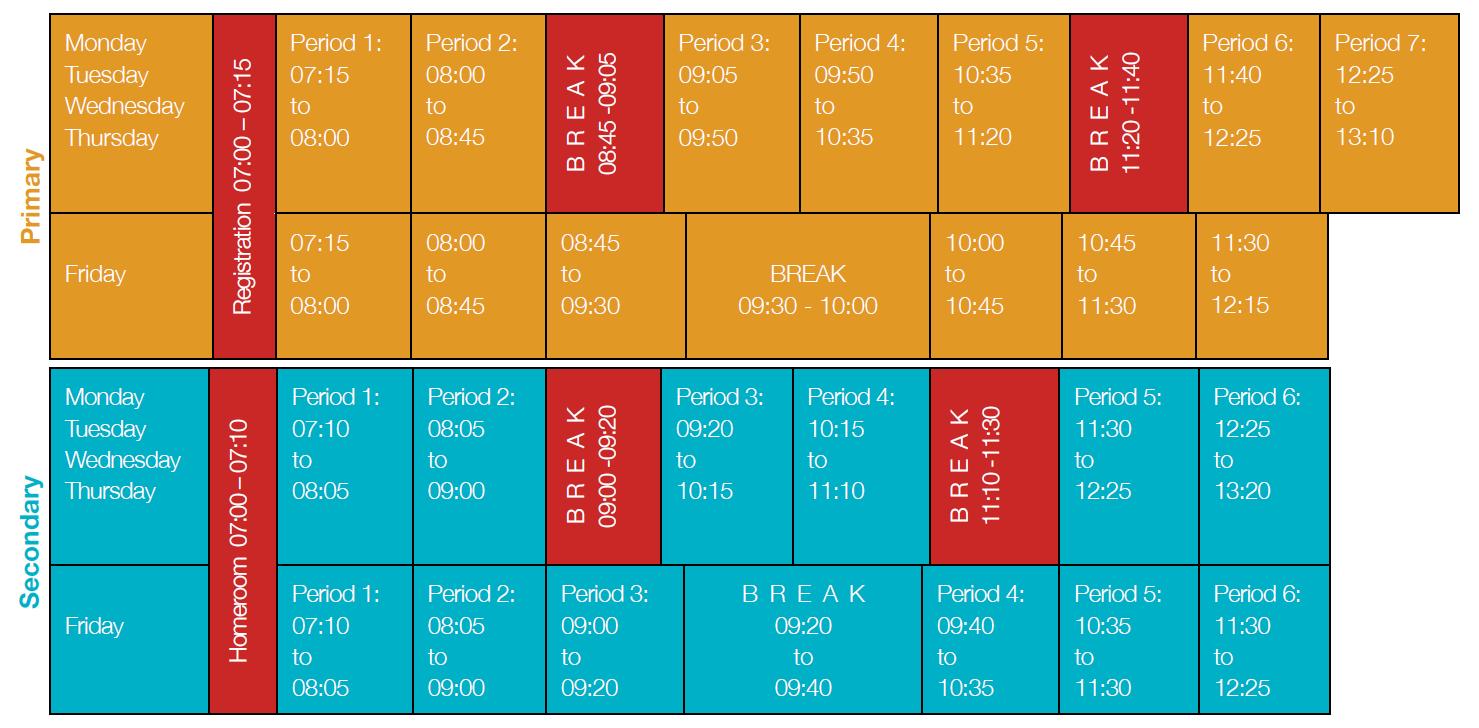 Westwood Weekly Schedule